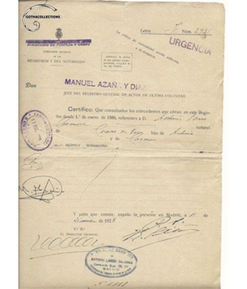 Deed  dated 1928. Manuel Azaña Díaz (1880-1940).