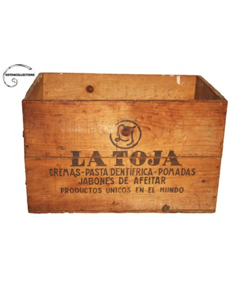 "Old box of ""La Toja"" products."