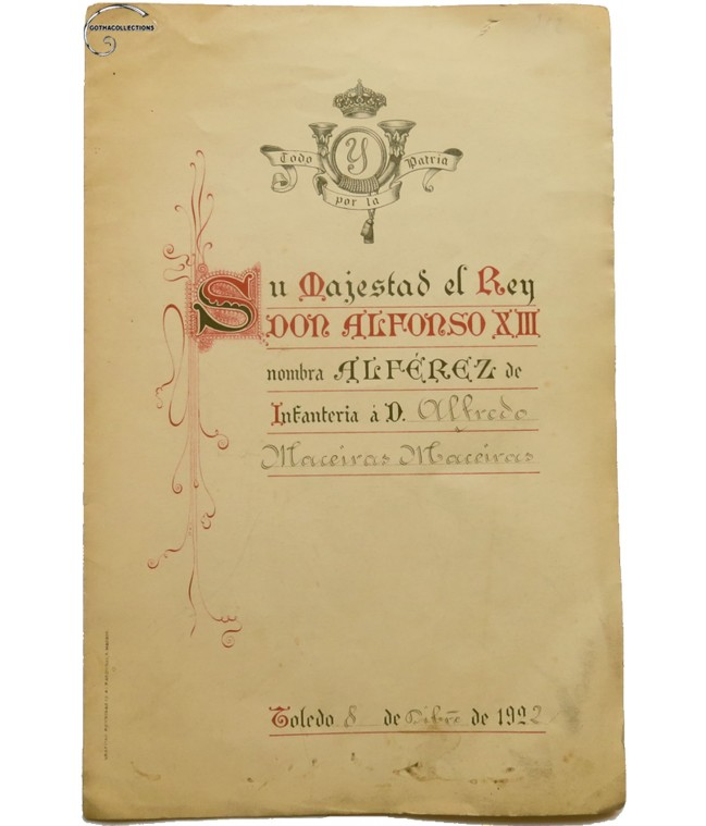 Document Spanish Alférez, 1922