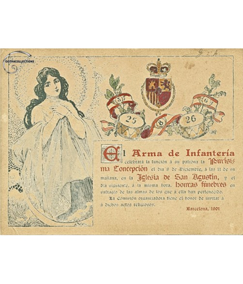 Old Military Invitation, Alfonsin period, 1901.