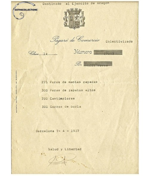 Spanish Civil War, military promissory note.
