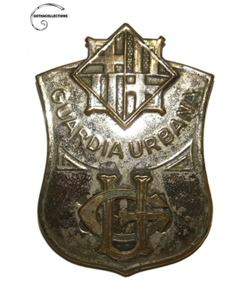 Guardia Urbana of Barcelona Agent´s chest badge. Reused, Spanish Civil War.